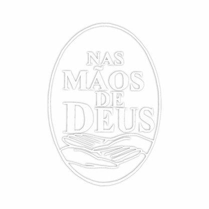 Adesivo Nas Mãos de Deus em Branco 13 x 9,5 cm Preço de 6 Unidades