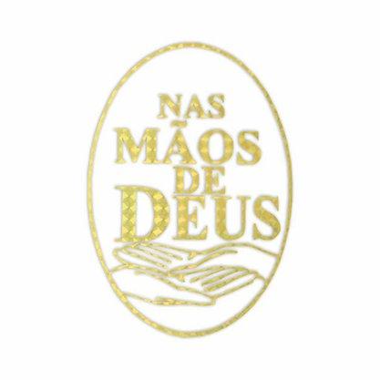 Adesivo Nas Mãos de Deus em Dourado 13 x 10 cm Preço de 6 Unidades