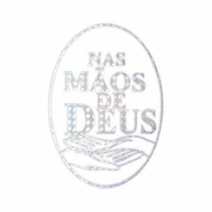Adesivo Nas Mãos de Deus em Prata 13 x 9.5 cm Preço de 6 Unidades