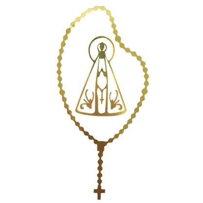 Adesivo Pequeno Nossa Senhora Aparecida Terço em Dourado - Contém 6 Unidades