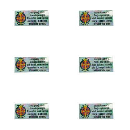 Adesivo Retangular São Bento com Frase 5 x 11,4 cm Preço de 6 Unidades