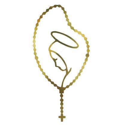 Adesivo Médio Terço Virgem Maria em Dourado - Contém 6 Unidades