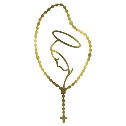 Adesivo Virgem Maria Terço em Dourado 10,5 x 5,5 cm Preço de 6 Unidades