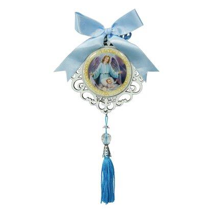 Adorno de Berço Anjo da Guarda com Detalhes em Azul 25cm