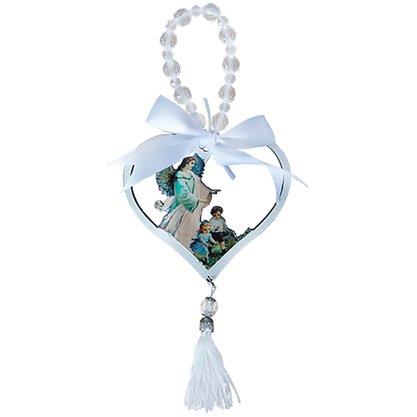 Adorno de Berço Anjo da Guarda Coração com Fita Branca