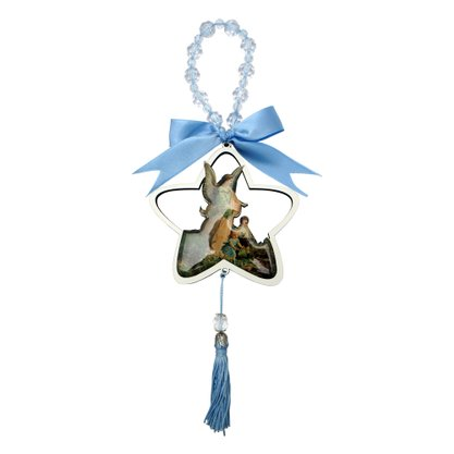 Adorno de Berço Anjo da Guarda Formato de Estrela com Fita Azul 11 x 10 cm