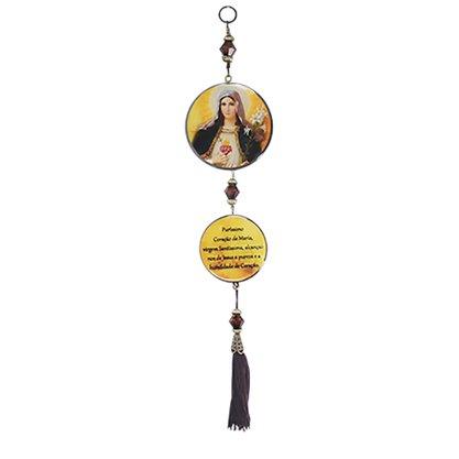 Adorno de Porta Sagrado Coração de Maria 2 Medalhas 30 x 7,5 cm
