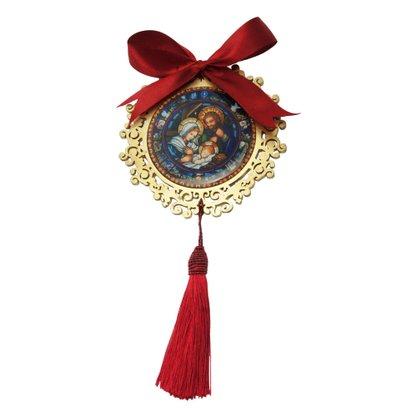 Adorno Mandala de Porta Natal Sagrada Família em Dourado - 12cm