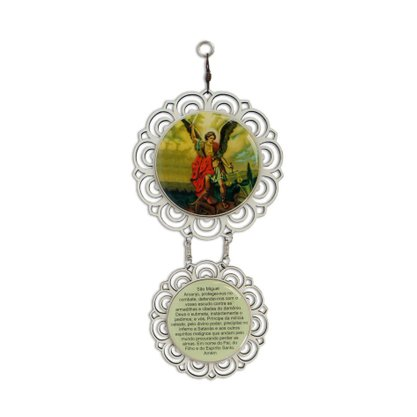 Adorno Mandala de Porta São Miguel Arcanjo Flor de Madeira - 2 Medalhas - 10cm