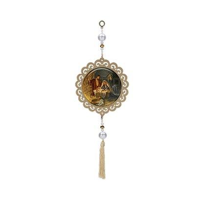 Adorno Mandala Sagrada Família Moldura Dourada 30 cm