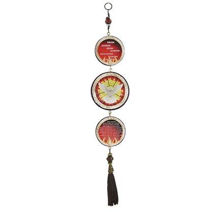 Adorno porta Divino Espírito Santo 3 medalhas red