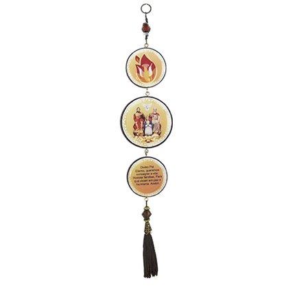 Adorno Redondo de Porta Divino Pai Eterno 3 Medalhas 40 x 8 cm