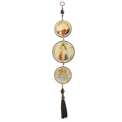 Adorno Redondo de Porta Jesus Misericordioso 3 Medalhas 40 x 8 cm
