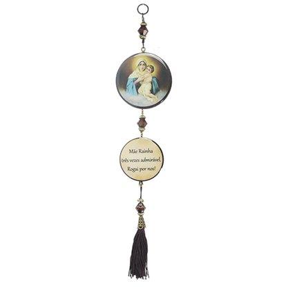 Adorno Redondo de Porta Mãe Rainha - 2 Medalhas - 30cm