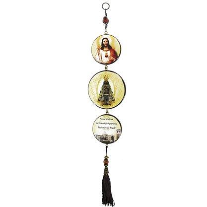 Adorno Redondo de Porta Nossa Senhora Aparecida 3 Medalhas 40 x 8 cm