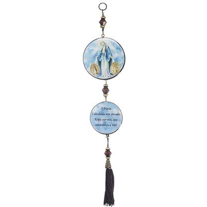 Adorno Redondo de Porta Nossa Senhora das Graças - 2 Medalhas - 30cm