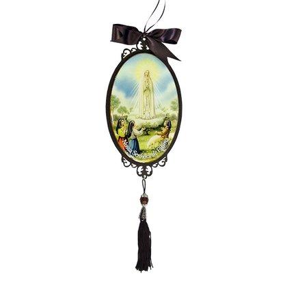 Adorno Oval de Porta Nossa Senhora de Fátima 30 x 10 cm