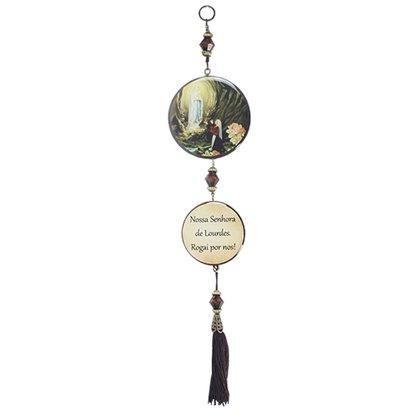 Adorno Redondo de Porta Nossa Senhora de Lourdes - 2 Medalhas - 30cm