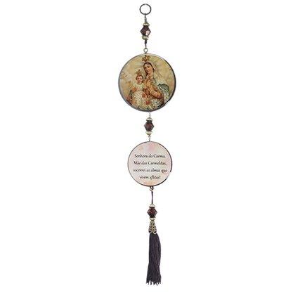 Adorno porta Nossa Senhora do Carmo 2 medalhas red
