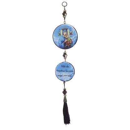 Adorno Redondo de Porta Nossa Senhora do Perpétuo Socorro - 2 Medalhas - 30cm