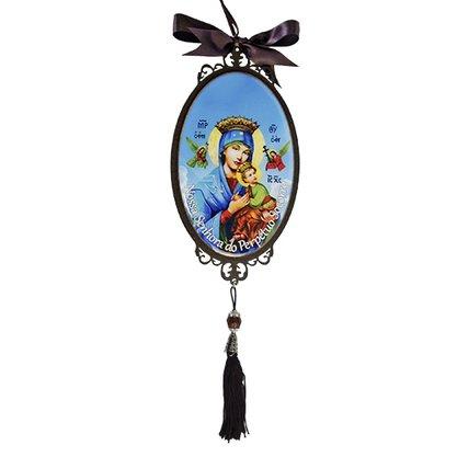 Adorno Oval de Porta Nossa Senhora do Perpétuo Socorro 30 x 10 cm