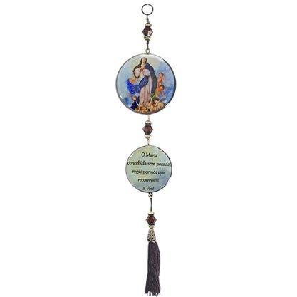 Adorno Redondo de Porta Nossa Senhora Imaculada da Conceição 2 Medalhas 30 x 7,5 cm