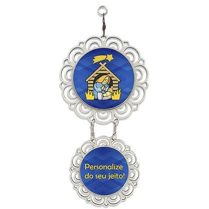 Adorno porta personalizado mandala flor madeira 2 medalha