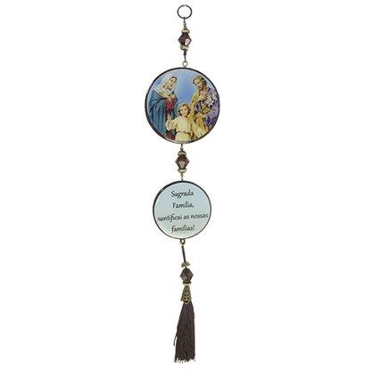 Adorno Redondo de Porta Sagrada Família 2 Medalhas 30 x 7,5 cm