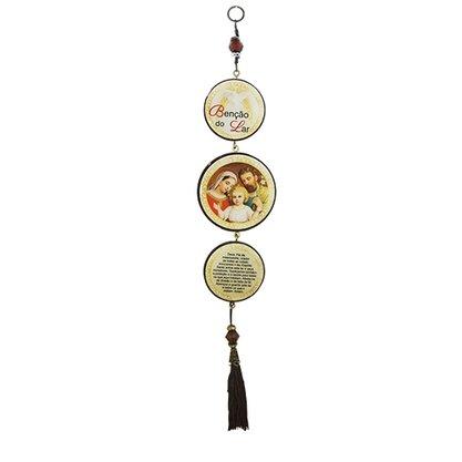 Adorno Redondo de Porta Sagrada Família 3 Medalhas 40 x 8 cm