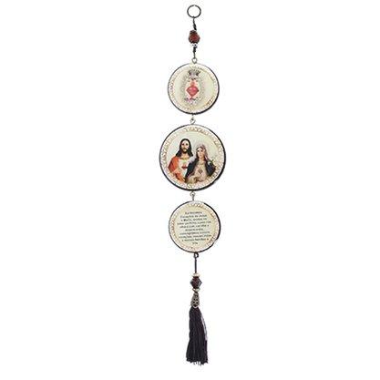 Adorno Redondo de Porta Sagrado Coração de Jesus e Imaculado Coração de Maria 3 Medalhas 40 x 8 cm