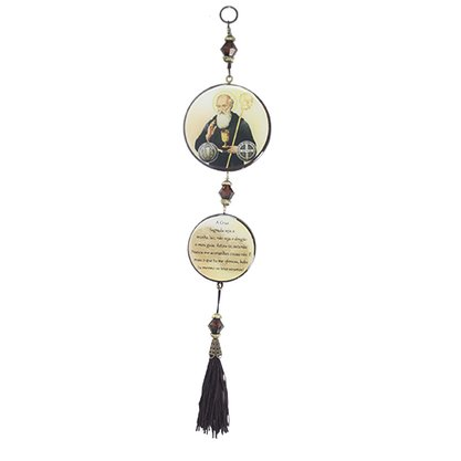 Adorno Redondo de Porta São Bento 2 Medalhas 30 x 7,5 cm