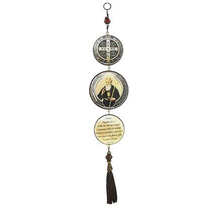 Adorno Redondo de Porta São Bento 3 Medalhas 40 x 8 cm