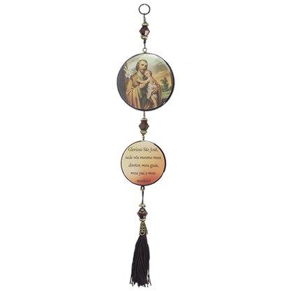 Adorno Redondo de Porta São José 2 Medalhas 30 x 7,5 cm