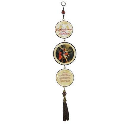 Adorno Redondo de Porta São Miguel Arcanjo 3 Medalhas 40 x 8 cm