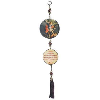 Adorno Redondo de Porta São Miguel Arcanjo 2 Medalhas 30 x 7,5 cm