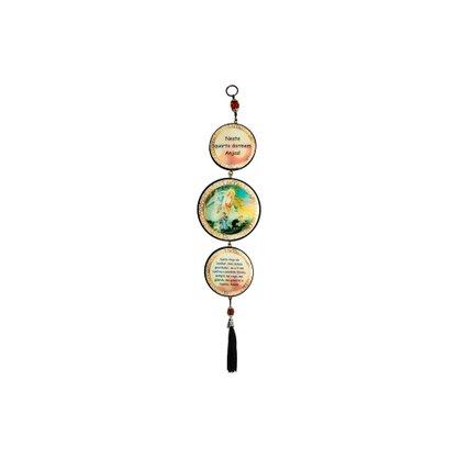 Adorno Redondo de Porta Anjo da Guarda 3 Medalhas 40 x 8 cm
