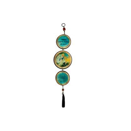 Adorno Redondo de Porta Anjo da Guarda Azul  3 Medalhas 40 x 8 cm