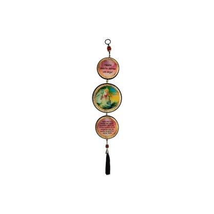 Adorno Redondo de Porta Anjo da Guarda Rosa 3 Medalhas 40 x 8 cm
