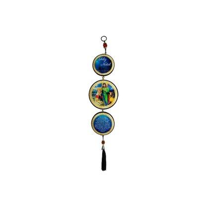 Adorno Redondo de Porta Natal Azul 3 Medalhas 40cm