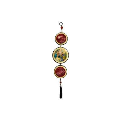 Adorno Redondo de Porta Natal Vermelho 3 Medalhas 40 x 8 cm