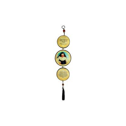 Adorno Redondo de Porta Santa Dulce dos Pobres 3 medalhas 40 x 8 cm