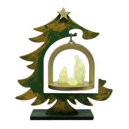 Árvore de Natal em MDF com Sagrada Familia em Resina Fosforescente
