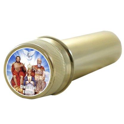 Aspersório Divino Pai Eterno em Acrílico Dourado - 14cm