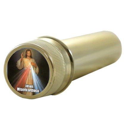 Aspersório Jesus Misericordioso em Acrílico Dourado 14 x 4 cm