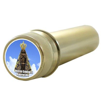 Aspersório Nossa Senhora Aparecida em Acrílico Dourado 14 x 4 cm
