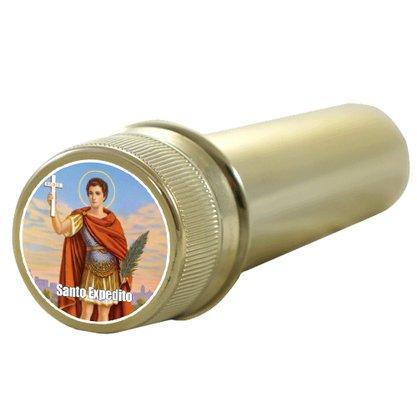 Aspersório Santo Expedito em Acrílico Dourado - 14cm