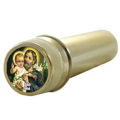 Aspersório São José em Acrílico Dourado 14 x 4 cm