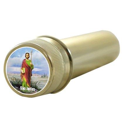 Aspersório São Judas Tadeu em Acrílico Dourado 14 x 4 cm