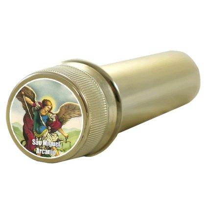 Aspersório São Miguel Arcanjo em Acrílico Dourado 14 x 4 cm