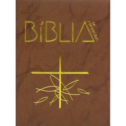 Bíblia Sagrada de Aparecida Marrom Ziper Flexível